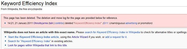Keyword Efficiency Index Wikipedia This page has been deleted