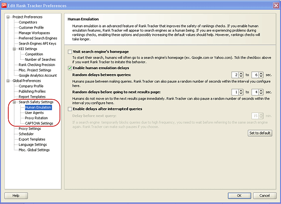 Search safety settings in SEO PowerSuite