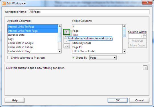 Adding Internal Links Tracking to Visible Columns in WebSite Auditor