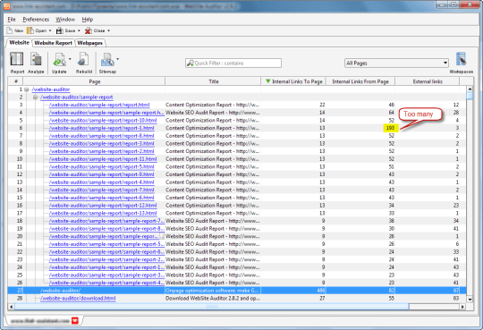 Evaluating the number of internal links to and from page in WebSite Auditor