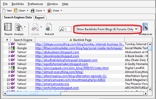 Choose backlinks from blogs and forums
