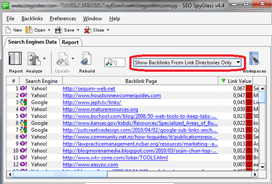 Choose backlinks from link directories