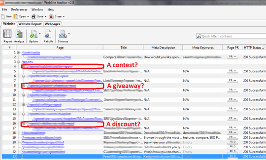Use WebSite Auditor to find web pages created for special marketing activities