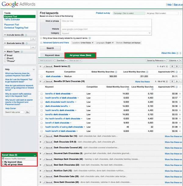 Adwords keyword and group ideas