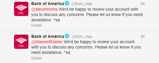 bank of america tweets