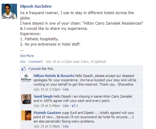 hilton support on facebook
