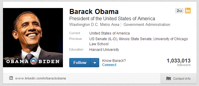 barack obama on linkedin