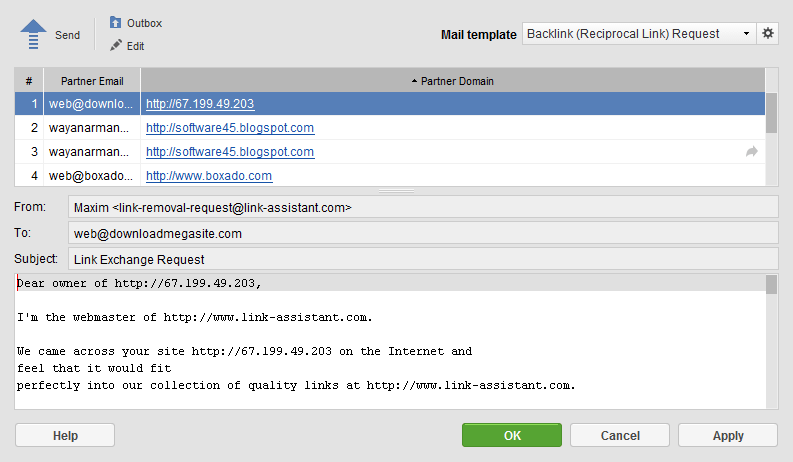 LinkAssistant Enterprise SEO Tool Screenshot