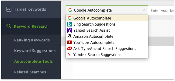 Autocomplete module in Rank Tracker