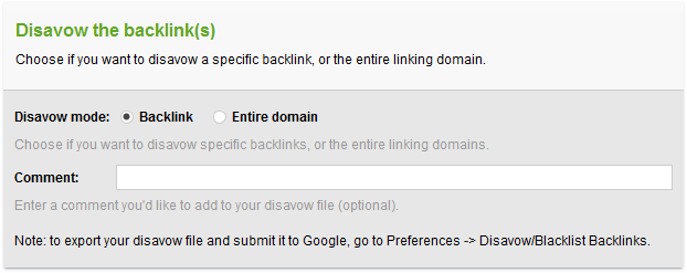 Disavowing backlinks in SEO SpyGlass