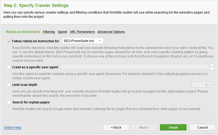 website auditor crawler settings
