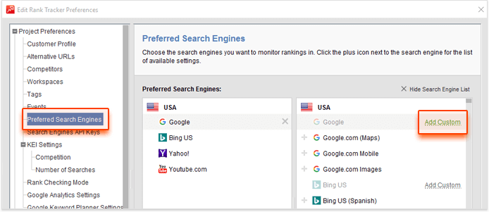 Changing search engines in Rank Tracker