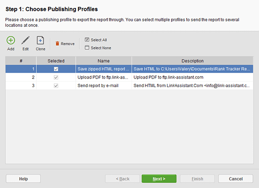 Printing reports, emailing them or publishing to the Web