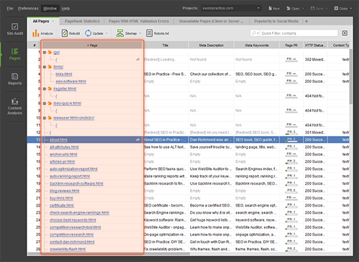Screenshot of WebSite Auditor Professional 4.30.6