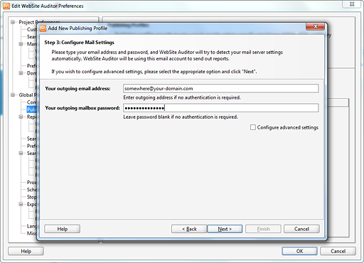 Configure Mail Settings