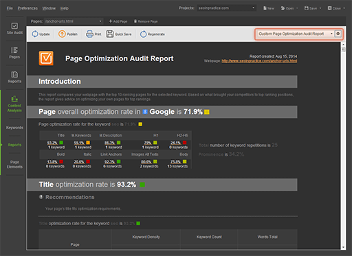 Customization of all kinds of reports