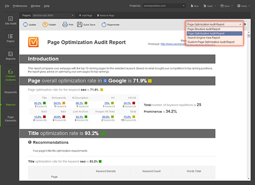 Content optimization reports for each individual page