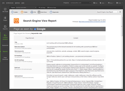 Search Engine View report