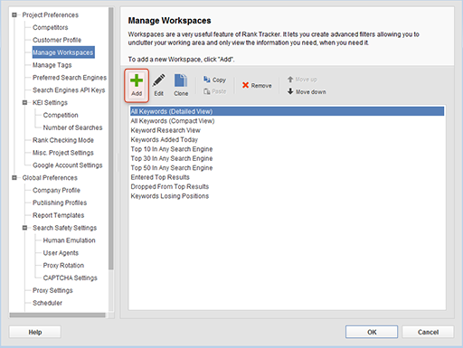 Add Workspace option in Manage Workspaces menu