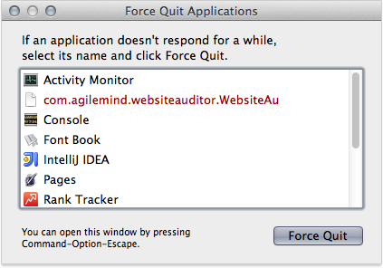 Force quit Rank Tracker using Apple menu