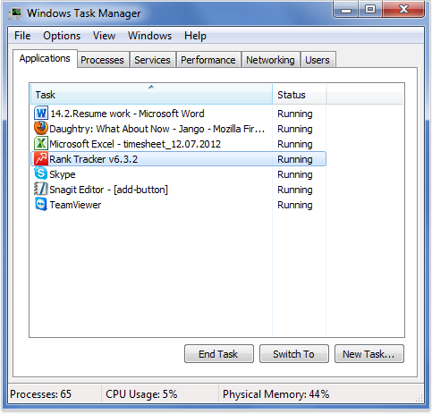 Close Rank Tracker through Windows Task Manager