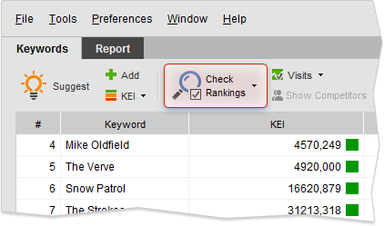 Check Rankings button on Keywords toolbar