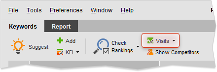 Update Visits and Bounce Rates option on Keywords toolbar