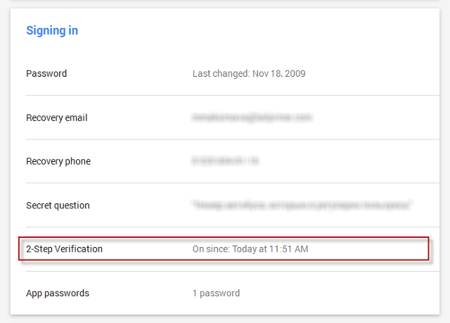 Turn off 2-step verification for your Google account