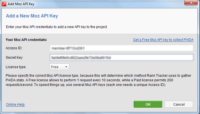 Using MOZ API key to update Page Authority and Domain
