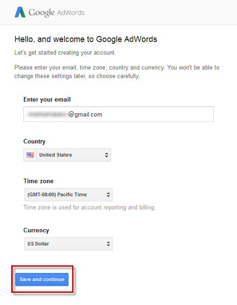 Activate your AdWords account