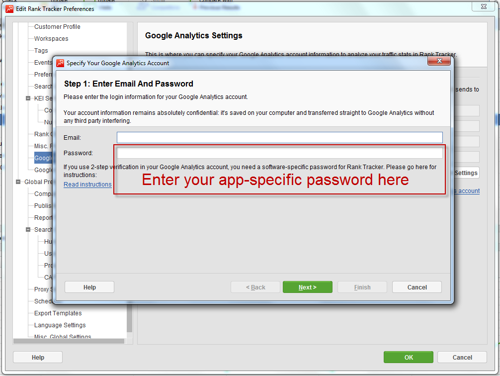 Enter your password for SEO PowerSuite