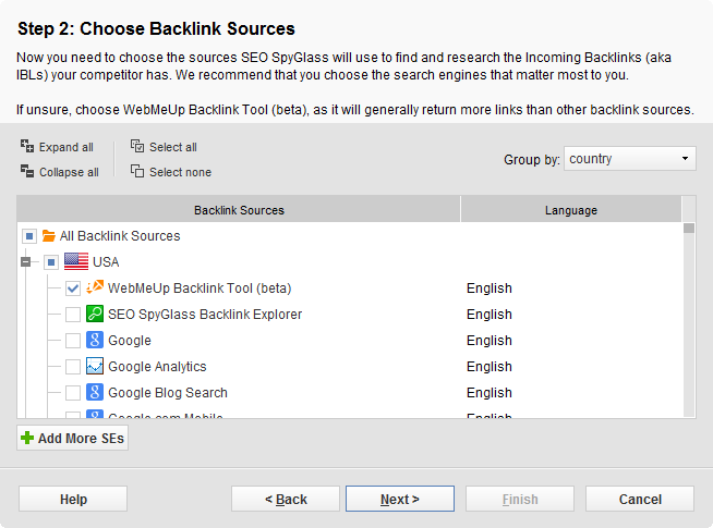Choose backlink source - WebMeUp