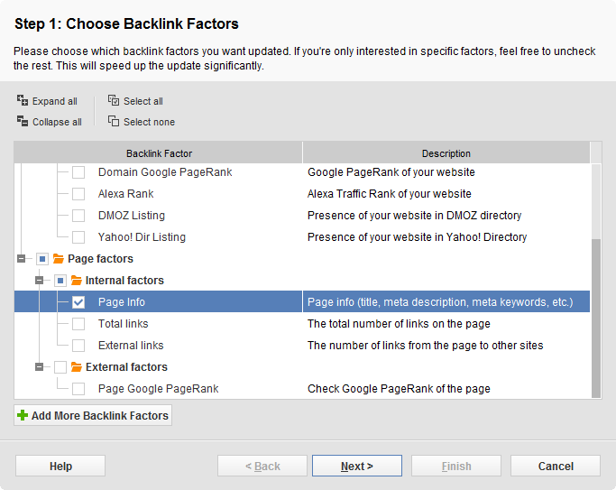 Choose Page info among other backlink factors
