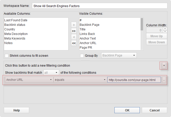 Create a filtering condition