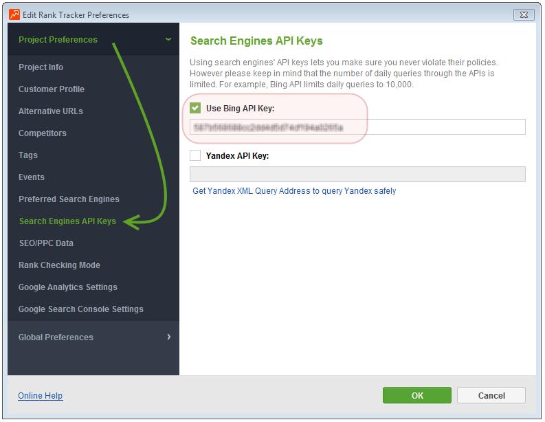 How do I use Bing API key in SEO PowerSuite? - SEO