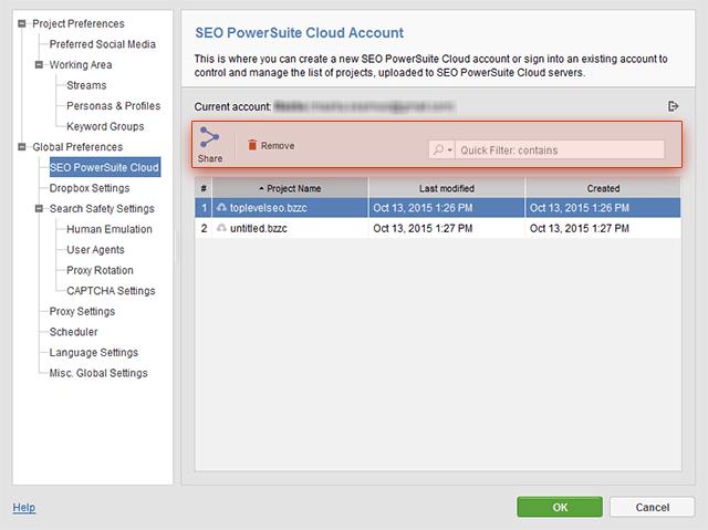 Manage SEO PowerSuite Cloud