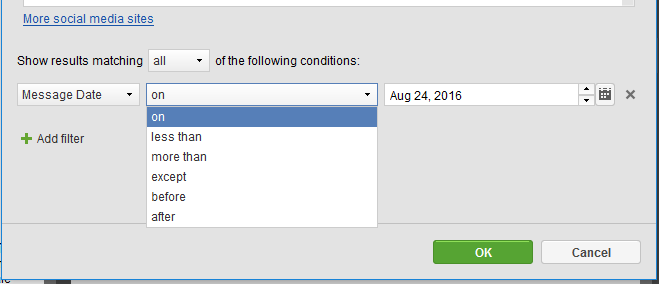 Set the exact date or the period using filtering conditions