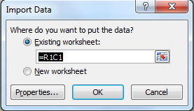 Specify worksheet to put the data to
