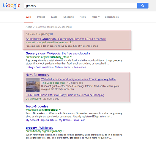 Google ads and OneBox listings