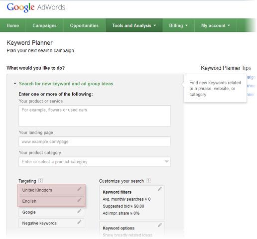 Targeting settings in Keyword Planner