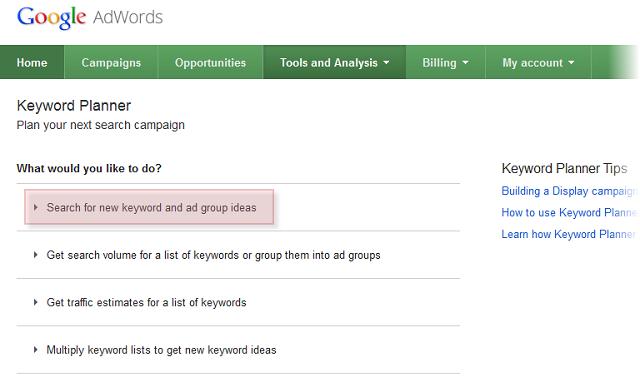 Search for keyword ideas