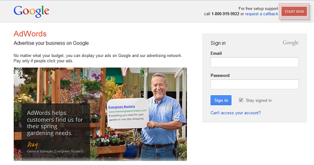 Start a new AdWords account