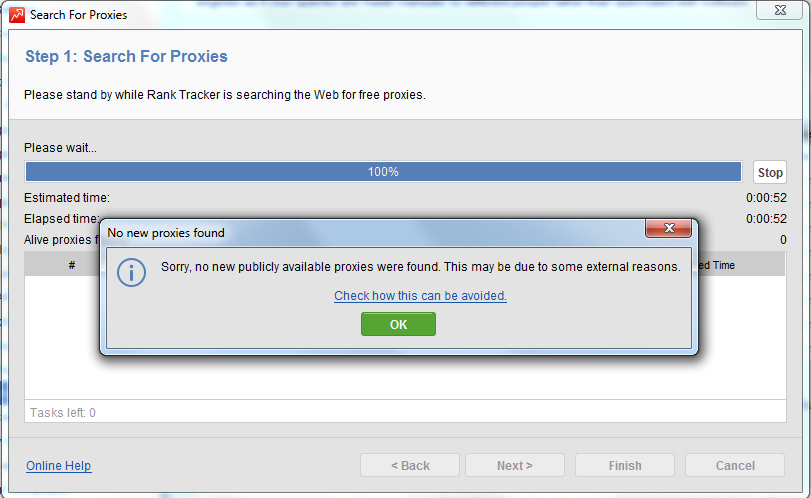 No new proxies found warning message