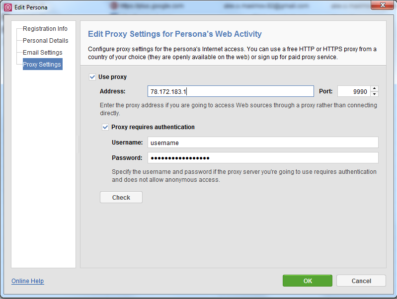 Assign proxy to persona