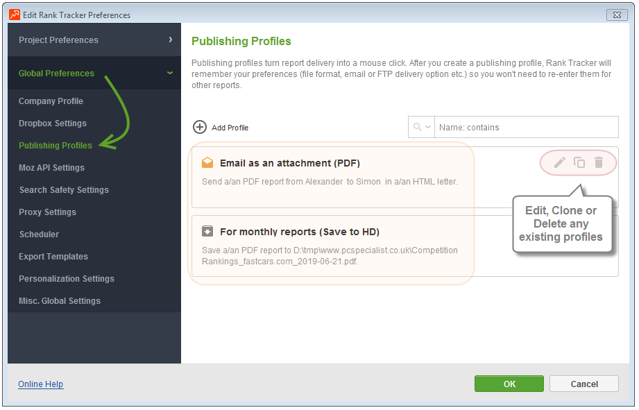 How to set up a publishing profile - SEO PowerSuite Help and