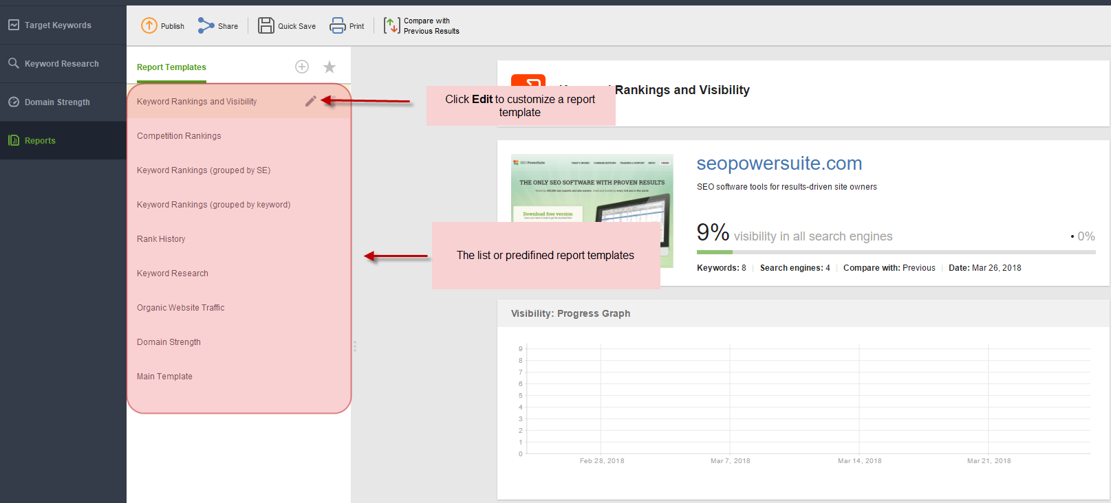 how to create and customize reports seo powersuite help and support
