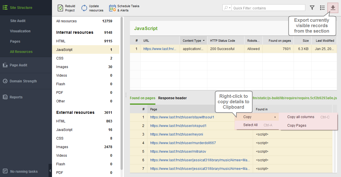 WebSite Auditor: Quick CSV Export
