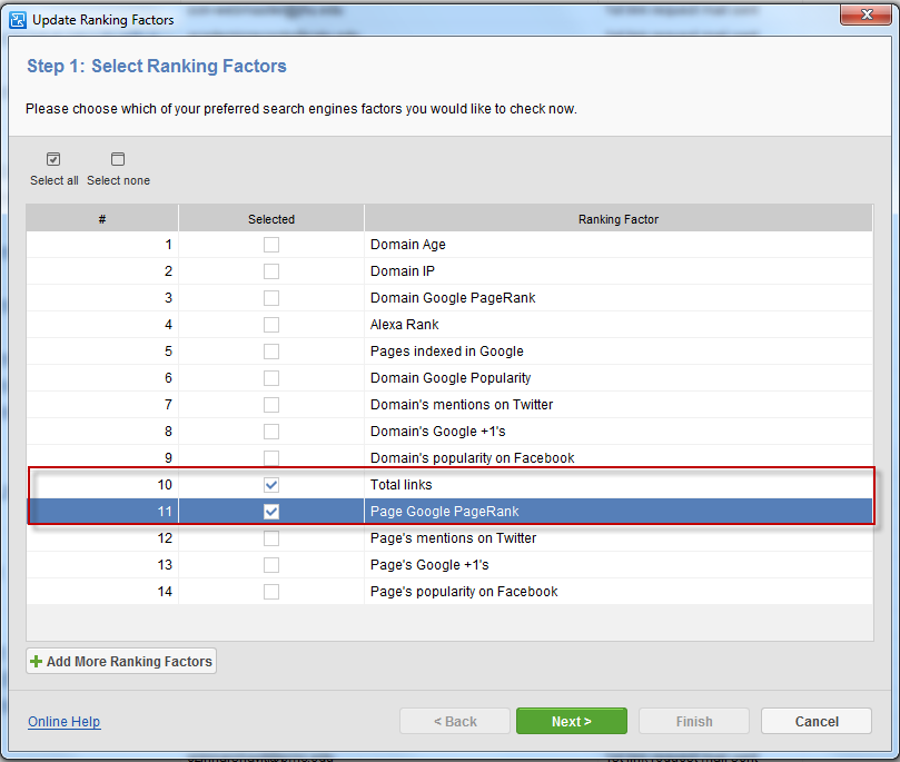 Updating ranking factors in LinkAssistant
