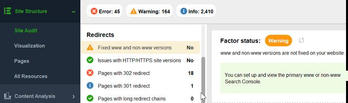 Find www vs non-www issues