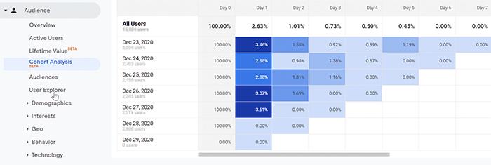 Analyze audience retention rate